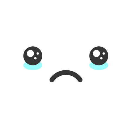 Sad crying kawaii cute emotion face, emoticon vector icon. Characters and emoji cartoon design