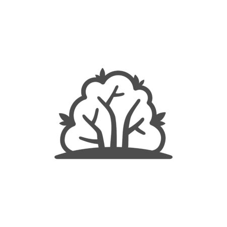Bush outline vector icon, nature simple illustration. Isolated single icon Ilustração
