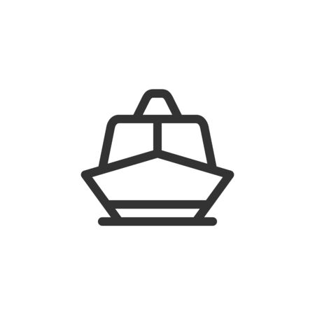 Boat front view vector outline style icon. Marking of public transport stops.