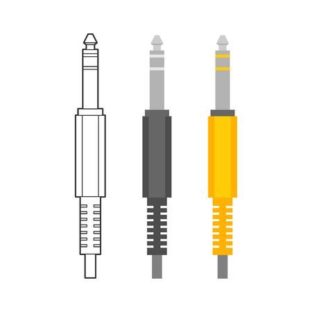 Various electronic wire connectors and inputs, jacks and plugs vector icon set. Three versions of one type of connectors - outline, monohrome and colorful Ilustração