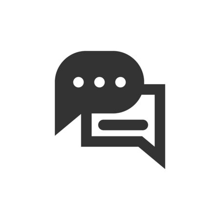 Speech bubble and dialog balloon filled style vector icon. Isolated chat sign on white background