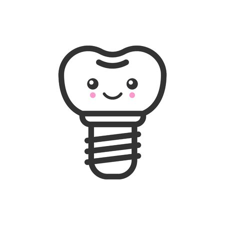 Implant tooth with emotional face, cute vector icon illustration. Line style isolated image Ilustração