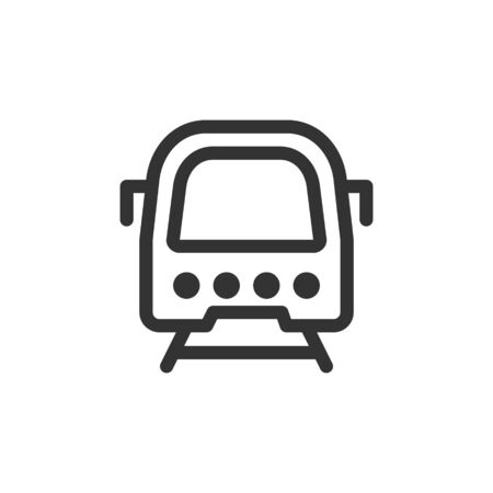 Underground train front view vector outline style icon. Marking of public transport stops.