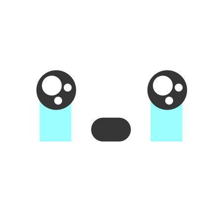 Crying kawaii cute emotion face, emoticon vector icon. Characters and emoji cartoon design