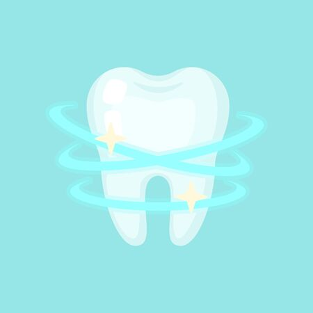 Shiny clean tooth, cute colorful vector icon illustration. Cartoon flat isolated image