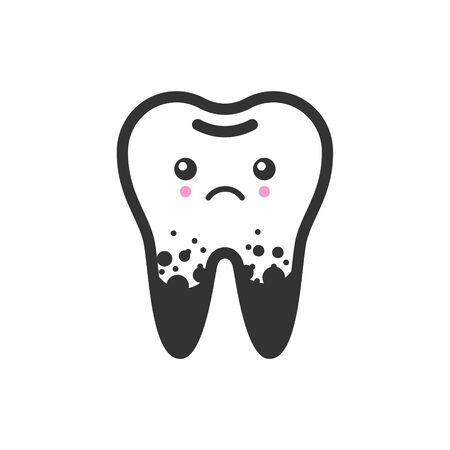 Dirty spoted tooth with emotional face, cute vector icon illustration. Line style isolated image
