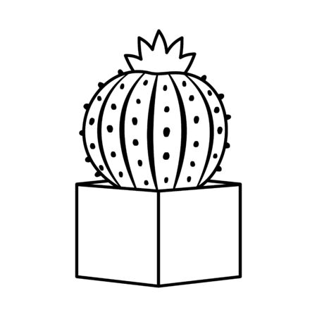 Cactus and succulent line style cartoon vector illustration. Decorative flower plant in pot. Isolated icon cacti Imagens