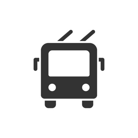 Trolley bus front view vector glyph style icon. Marking of public transport stops. Çizim