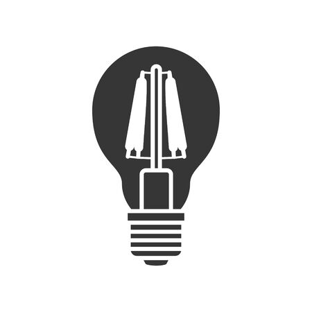LED light lamp bulb vector filled silhouette icon, isolated on white background