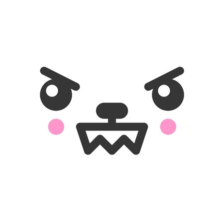 Angry kawaii cute emotion face, emoticon vector icon. Characters and emoji cartoon design Illustration