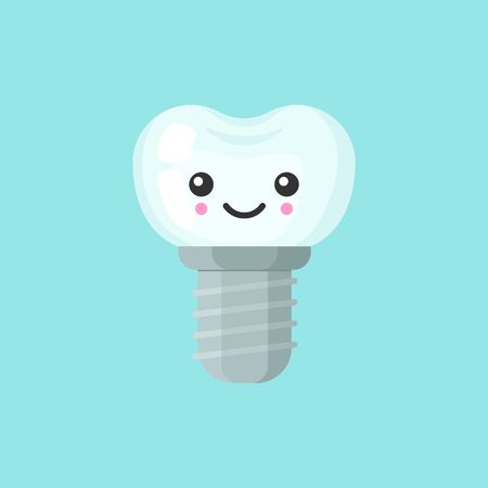 Implant tooth with emotional face, cute colorful vector icon illustration. Cartoon flat isolated image