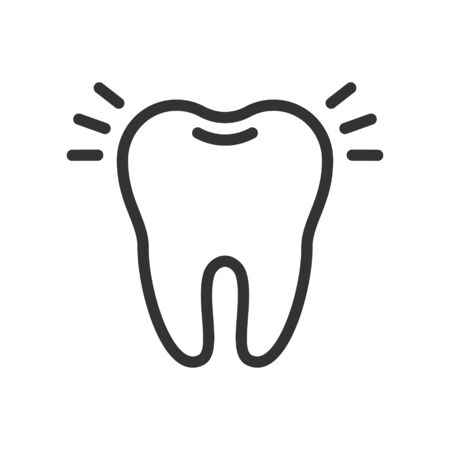 Shiny clean tooth, cute vector icon illustration. Line style isolated image