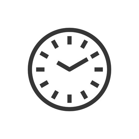 Round wall clock line style isolated vector icon. Linear pictograms on white background. Interface icon