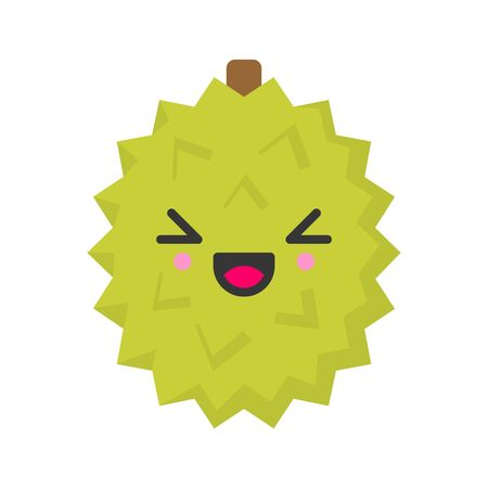 Cute smiling exotic durian. Kawaii fruit character. Isolated colorful vector icon Çizim
