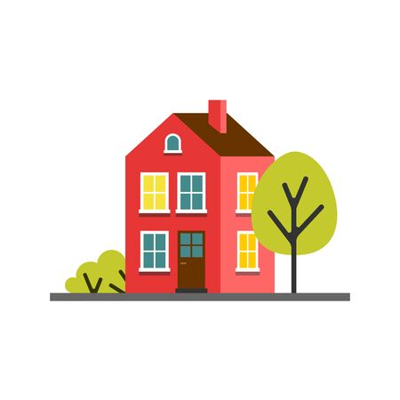 Small cartoon red magenta house with trees. Isolated vector illustration. Cute bright children illustration. Çizim