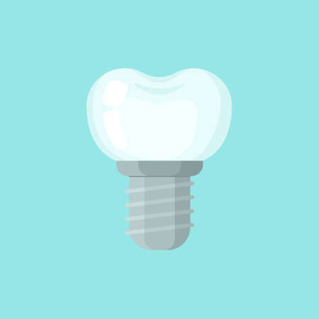Implant tooth, cute colorful vector icon illustration. Cartoon flat isolated image