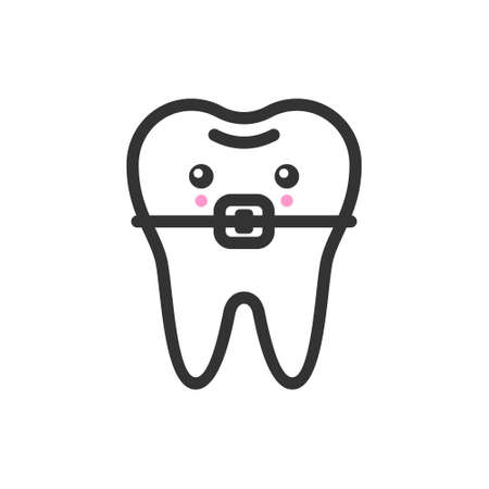 Tooth with a brace with emotional face, cute vector icon illustration. Line style isolated image Vettoriali