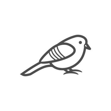 Small bird black vector icon, nature simple illustration. Isolated single icon