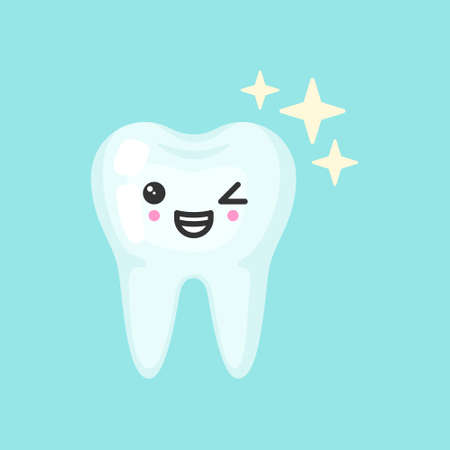 Shiny healthy tooth with emotional face, cute colorful vector icon illustration. Cartoon flat isolated image Vettoriali