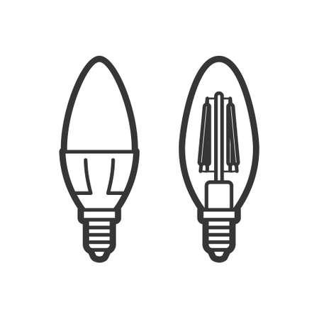 LED light lamp bulb vector outline icon set, isolated on white background