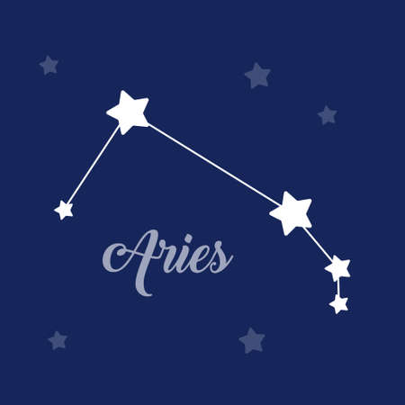 Aries sign constellation isolated vector icon on dark background. Single separate constellation with name Ilustrace