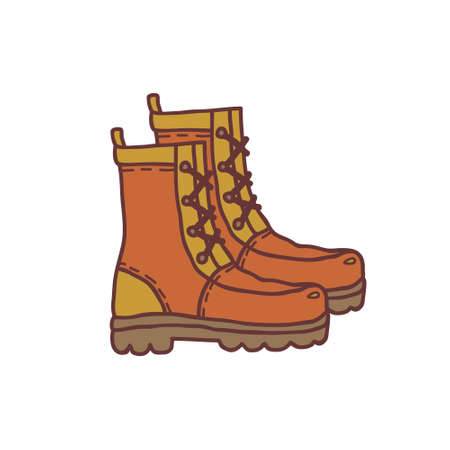 Hand drawn boots, sketch colored vector illustration. Camping separate icon, colorful doodle image. Element for using in design, packing, textile, logo. Ilustrace