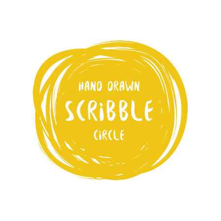 Hand drawn scribble colorful vector circle and label with text. Logo design and decoration element