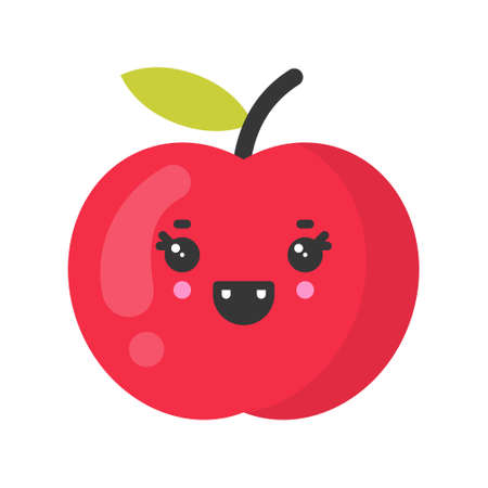 Cute smiling apple. Kawaii fruit character. Isolated colorful vector icon Ilustracja