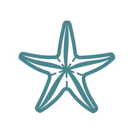 Sea starfish vector single icon, separate isolated illustration. Ocean and sea wild life. Underwater mollusk animal
