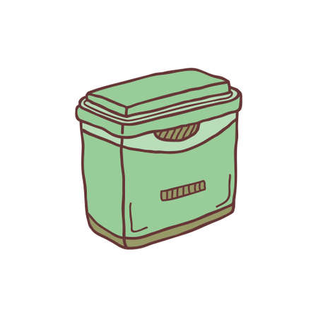 Hand drawn fridge container, sketch colored vector illustration. Camping separate icon, colorful doodle image. Element for using in design.