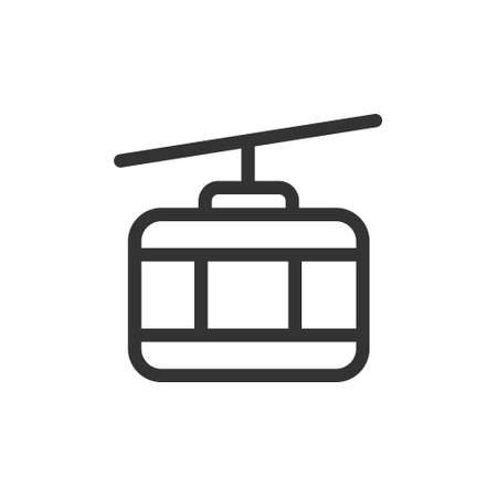Cable car front view vector outline style icon. Marking of public transport stops.