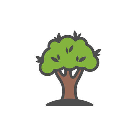 Tree colorful vector icon, nature simple illustration. Isolated single icon. Ilustracja