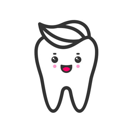 Clean tooth with a toothpaste with emotional face, cute vector icon illustration. Line style isolated image Ilustracja