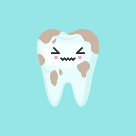 Dirty spoted tooth with emotional face, cute colorful vector icon illustration. Cartoon flat isolated image