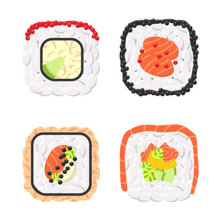 Yummy colored sushi rolls vector icon set. Collection of different flavours and kinds