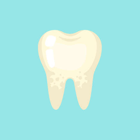 Dirty spoted tooth, cute colorful vector icon illustration. Cartoon flat isolated image Ilustracja