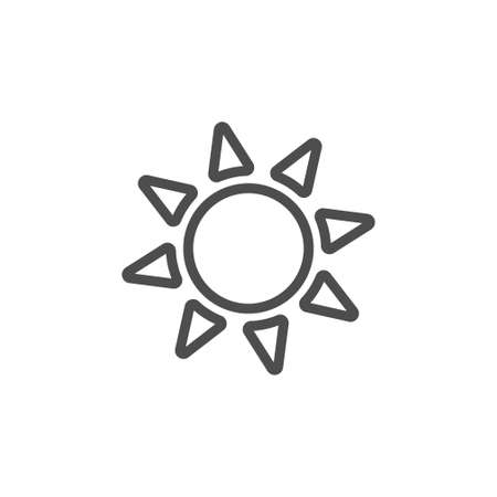 Bright yellow sun black vector icon, nature simple illustration. Isolated single icon