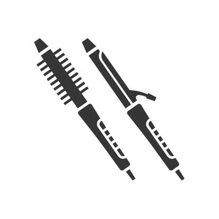 Curling iron glyph single isolated vector icon. Home appliances and electronics illustration on white background