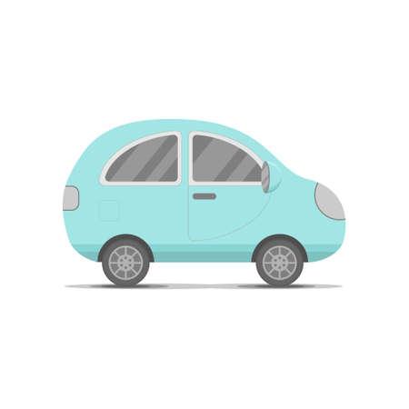 Small blue car, transport flat cartoon cute vector illustration. Family traveler car summer trip concept. Logo or emblem concept