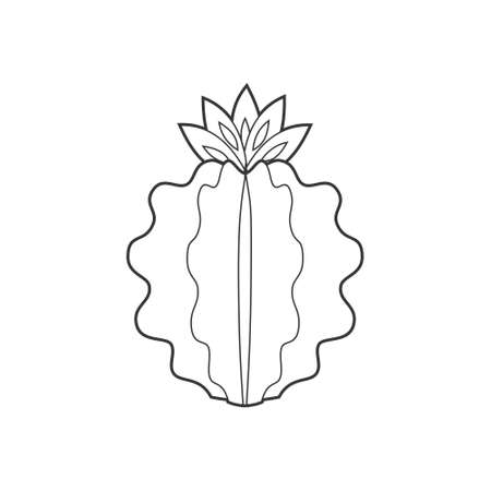 Outline cactus and succulent plant vector illustration. Decorative isolated icon. Cartoon style doodle.