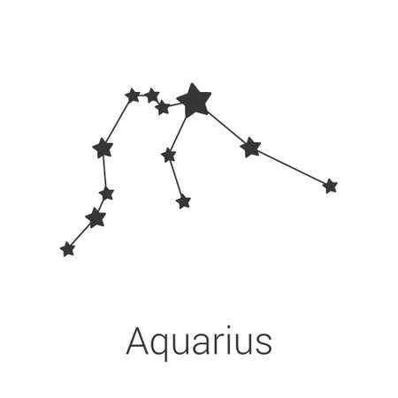 Aquarius sign constellation isolated vector icon on white background. Single separate constellation with name