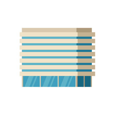 Modern city building, isolated vector flat cartoon illustration. Tower and office, city architecture, house business apartment
