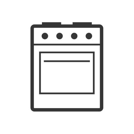 Stove - oven and hob outline single isolated vector icon. Kitchen appliances and electronics illustration on white background