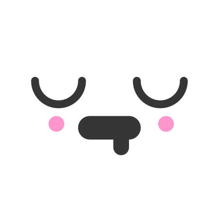 Exhausted kawaii cute emotion face, emoticon vector icon. Characters and emoji cartoon design