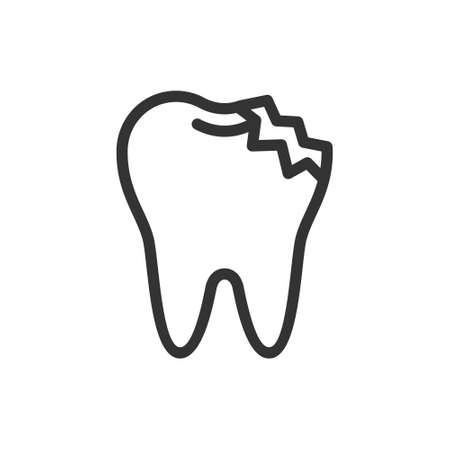 Ill broken tooth, cute vector icon illustration. Line style isolated image
