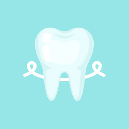Tooth with a floss, cute colorful vector icon illustration. Cartoon flat isolated image
