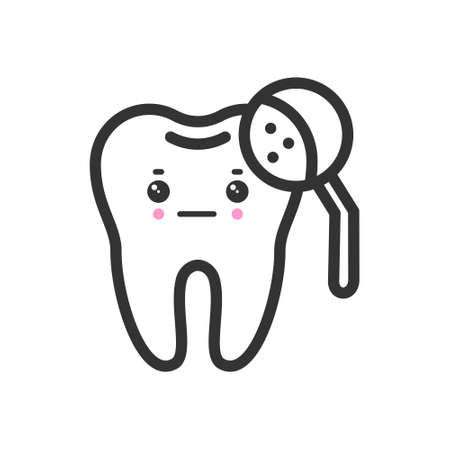 Tooth with a magnifying glass with emotional face, cute vector icon illustration. Line style isolated image 矢量图像