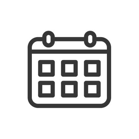 Calendar schedule line style isolated vector icon. Linear pictograms on white background. Interface icon