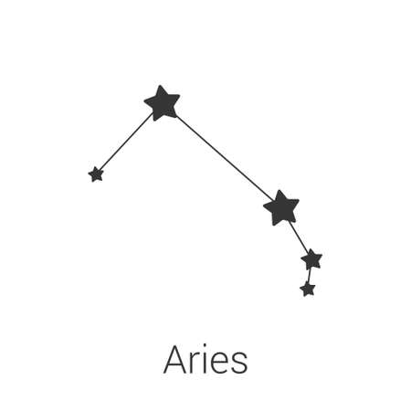 Aries sign constellation isolated vector icon on white background. Single separate constellation with name