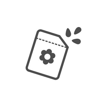 Seeds package black vector icon, garden tool, equipment and accessory. Isolated single illustration Illustration